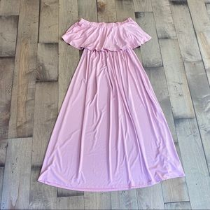 Boutique Maternity Dress Pink Maxi Strapless S